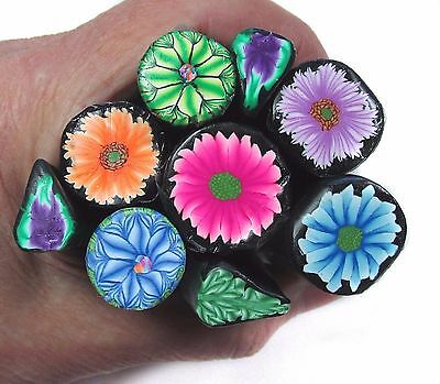 Fistful of Posies 9 pce polymer clay THANK YOU cane pack by CHarm FF01