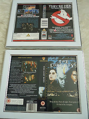 80s classics The lost boys & Ghostbusters Cover Double Vhs sleeves Framed