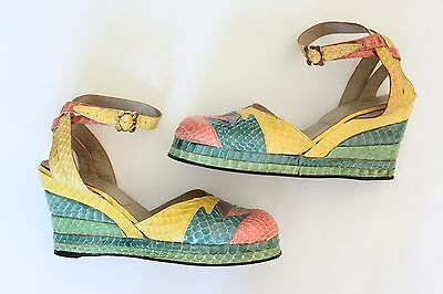 Vintage Terry de Havilland wedge snakeskin shoes UK 6 7