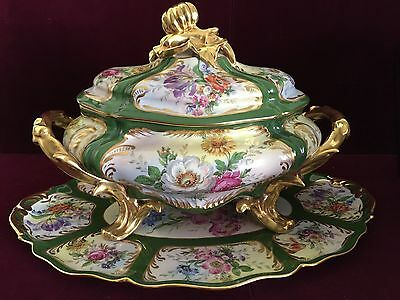 Vintage Limoges French Porcelain Soup Tureen w/Tray Handpainted