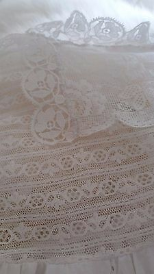 Vintage lace and cotton childs christening gown.