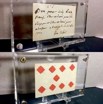 1777 French / American Revolution Colonial Period Playing Cards Document +COA