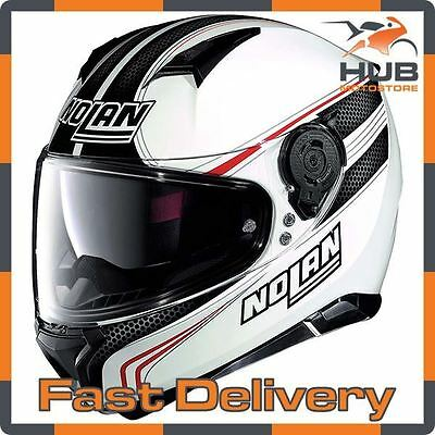 Nolan N87 Rapid N-Com Full Face Motorcycle Motorbike Helmet - White/Grey/Red