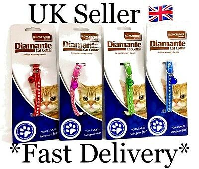 Kingfisher Cat Kitten Collar Diamante Safety Elastic Elasticated Bell Bling