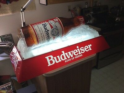 "Budweiser King Of Beers ""Bottle On Ice"" Pool Table Hanging Light. Spotless. 1992"