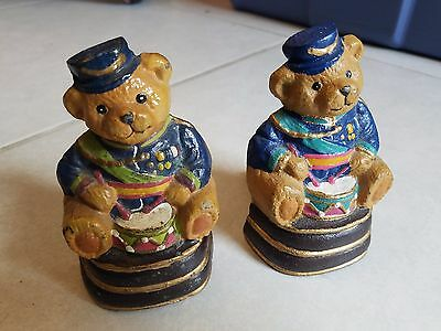 "Vintage 4.5"" Cast Iron Hand Sturdy Painted Drummer Teddy Bear Bookends/doorstops"