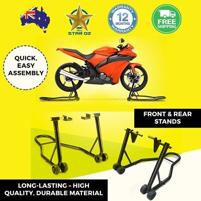 Motorbike Stand Lift Set Front and Rear Motorcycle Steel Heavy Duty Jack