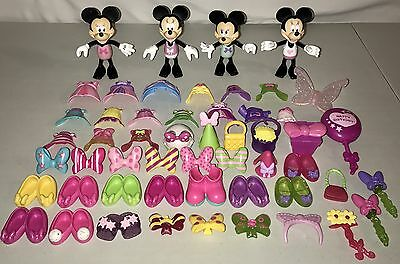 Lot of 53 Minnie Mouse Bowtique Snap N Style Clothes Dolls Shoes Disney Birthday