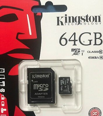 Kingston 64 gb SDXC Micro Sd card class 10 UHS-I 45mb/sec with adopter