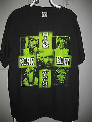 Authentic KORN Sick & Twisted 2000 World Tour Rock Metal Band Graphic T-Shirt XL