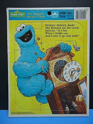 Sesame Street Cookie Monster Frame Tray Puzzle Golden 1989 Hickory Dickory Dock