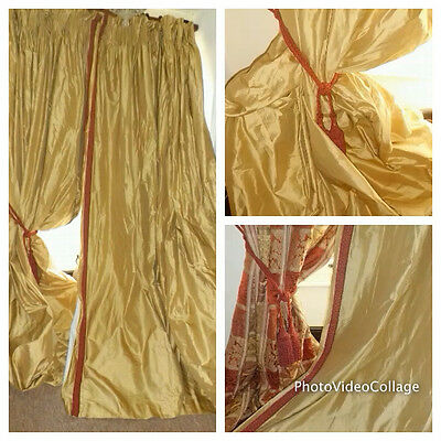 """9ft3""""x22ft FRENCH CHATEAU SILK BLACKOUT /Corresponding pair different listing"""