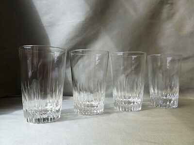 4 Crystal Whisky/Water Tumblers, Petal Cut, Not Signed