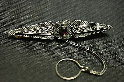 Vintage Sterling Silver 925 Tie Pin Clip Brooch with Chain & Red Gemstone