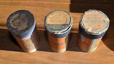 Edison Blue Amberol Cylinder Records - LOT of 3 Cylinders - 1561 3265 4360