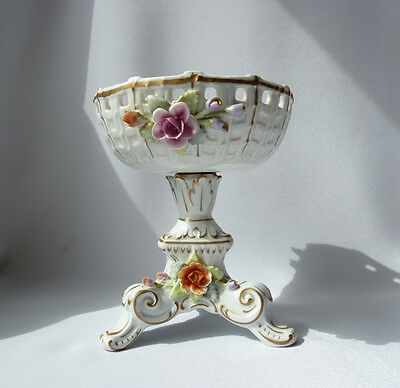 Dresden China Pedestal Bowl, Hand Painted Reticulated Rim, Signed GDR/ 1960-70's