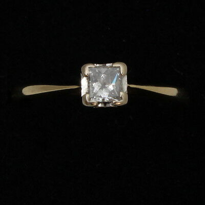 18ct Gold Solitaire Princess Diamond Engagement Ring Size M Hallmarked 0.3cts