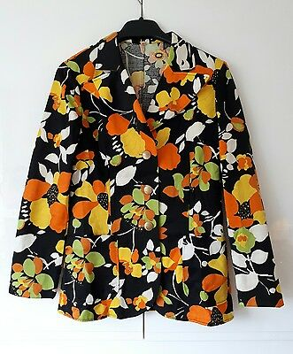 Amazing Vintage 1970's Single Breasted Floral Jacket Blazer. Size 38