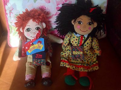 "Rosie And Jim Rag Dolls 10"" Narrowboat Barge Canal Boat Beanie Rag Dolls - Tag!"
