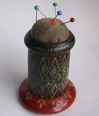Victorian or Edwardian Hand Painted Wooden Pin Cushion.