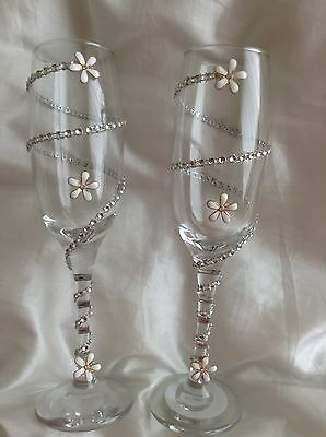 Decorated Glasses Party Wedding CelebrationRhinestone And Daisy Champagne Flutes