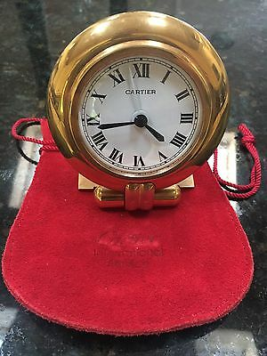 Cartier 18 Ct Rolled Gold Table Desk Alarm Clock Watch