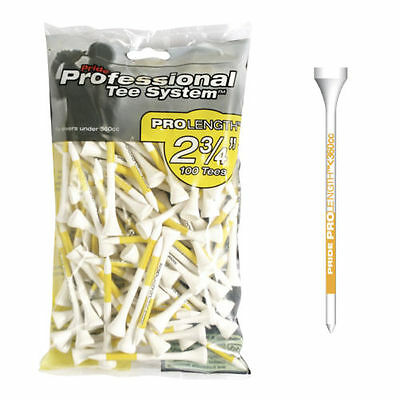 Pride Professional Golf Tee System 70mm (PTS) 2 3/4in Tees Yellow Pack 100