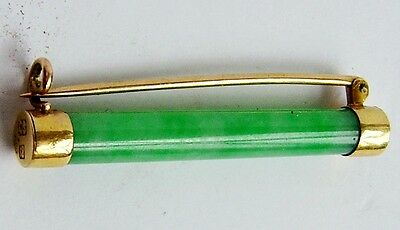 Victorian or Edwardian 18ct Yellow Gold Chinese Brooch with Green Jade.
