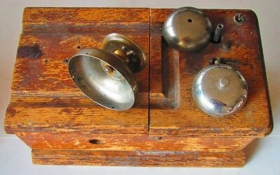 Antique Vintage Hand Crank Telephone PARTS Bell Ringer Mouthpiece Wood Box
