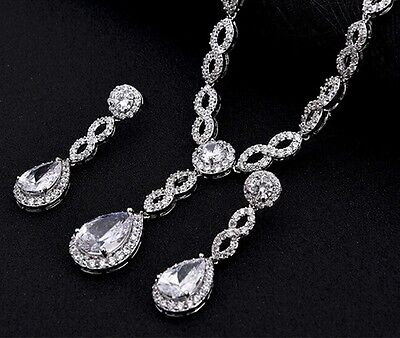 Bridal Infinity Tear Drop Necklace CZ Necklace Set