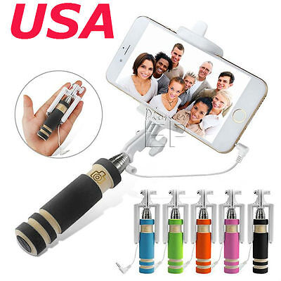 lot 20  MINI Extendable Wired Selfie Stick Handheld Monopod for iPhone Samsung