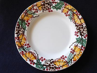 "EMMA BRIDGEWATER HAND SPONGED 'HOLLY WREATH' 10.5"" DINNER PLATE - NEW/1st"
