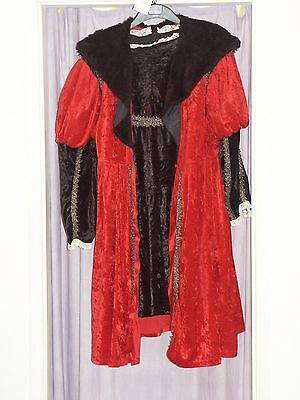 Men's Red & Black  Henry the Eighth VIII Fancy Dress Costume XL (101)