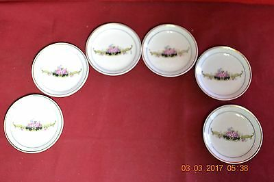 Six Vintage Hand Painted Floral Butter Pats