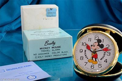 New Vintage Clam Shell Bradley Mickey Mouse Mechanical Travel Alarm Clock In Box