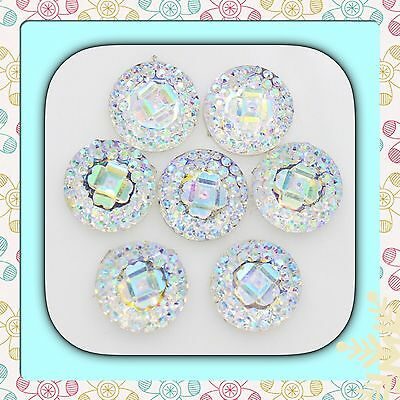 💖 🇬🇧Flat Back Ab x 40 Resin Cabochons Twinkling,Rhinestone For Crafts