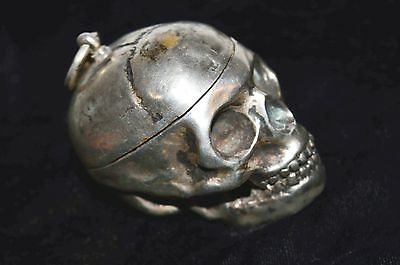 Antique Verge/ Fusee  Watch Inside Of Silver Plated Bronze Skull