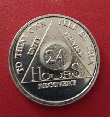 AA 24 HOURS RECOVERY CHIP ALUMINIUM  Alcoholics Anonymous Sobriety Coin uk