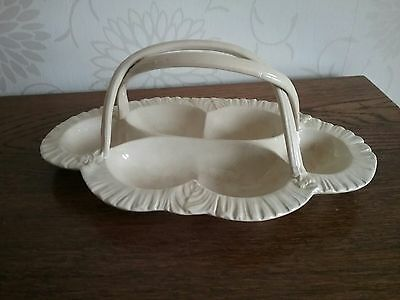 Antique Leeds Pottery Creamware Oyster Dish Basket