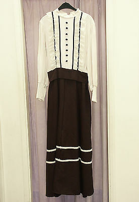 Women's Black Cream Victorian Lady Dress Theatre Re-enactment Costume Large  (A)