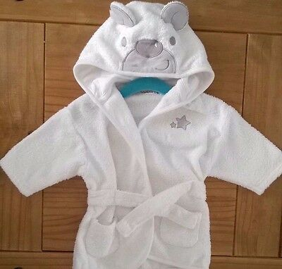 Baby Hooded Bathrobe 0-3 months White preloved good condition