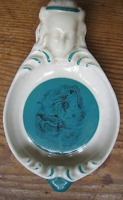 Unusual Crested China Dish With A Dog - Possibly Impressed W H Goss