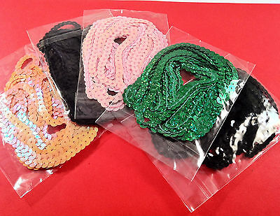 5 packs SEQUIN TRIMMINGS - mixed colours 3yard - sewing craft embellishments