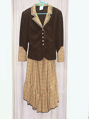 Women's Black Checked Victorian 2 Peice   Theatre  Re-enactment Costume 44cm