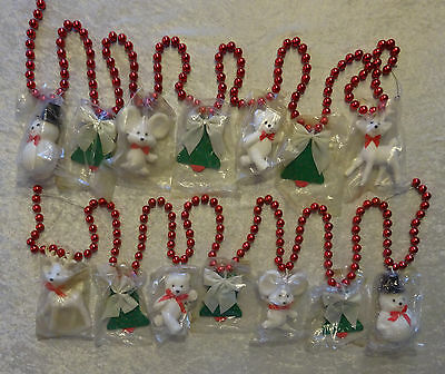 Vtg Red Bead Garland With Snowman Mouse Bear Reindeer Christmas Tree NOS Lot 2