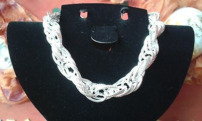 Bijoux Collier Large Maille Argent Poincon 925 Silver Kettling Necklace Neuf
