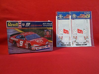 Bill Elliott 2001 #9 Dodge Intrepid Revell model kit and 2 Slixx decal sheets