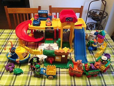 Fisher-Price Little People Ramps Around Garage & LOTS OF EXTRAS!