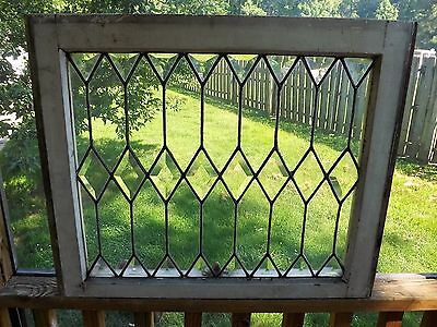 Antique Beveled Leaded Stained Glass Window Clear Original Frame Vintage Salvage