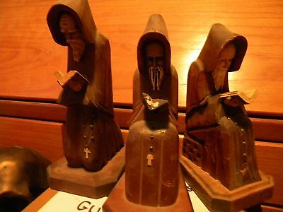 3 Antique Wooden Monk Bookends - 1930's - 1940's Mexican/Spanish
